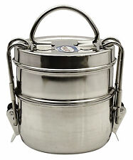 Stainless Steel Lunch Box Food Container 2 Tier Indian Tiffin Round Carrier Set