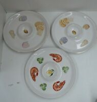 3 JAPANESE IRON STONE PLATTER SERVING PLATE DIP PLATES CHEESE 1960s RETRO KITSCH