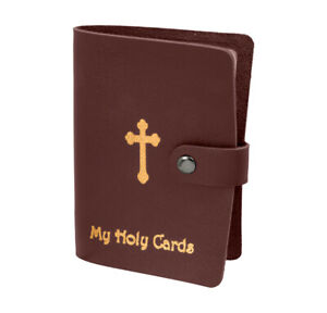 Burgandy Leatherette Holy Card Holder