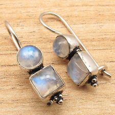 RAINBOW MOONSTONE Gems New Hot Design Cool Fashion Earrings 925 Silver Plated
