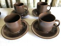 4 Vintage Georges Briard AZTEC Flat Cup Saucer Set Brown Japan Stoneware VHTF