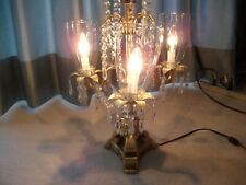 Elegant 3 bulb table lamp with shades    gold color    metal with cast base