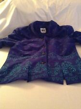 Leslie Fay Petite 12P Blue And Green Paisley Jacket