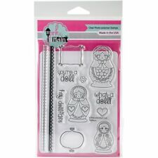 """Pink & Main Clear Stamps 4""""X6"""" Doll Face S-1, NEW"""