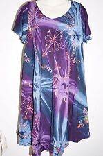 Dress Top Ladies Summer Beach cover up Hippie Rayon One size sequin XL purple