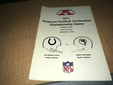 1971 AFC Championship Press/Media Guide Baltimore Colts Miami Dolphins JA