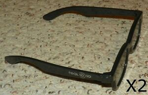 Real D - 3D Polarized Glasses - Movie, DVD, Video Game or Theatre (X2) - Black