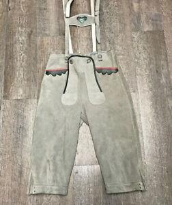 """Vintage Leather Lederhosen Leather Pants Suspenders  Waist 28""""  Austria"""