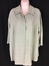 White Stag Stretch Women's Size 16W Button Up 3/4 Light Green Sleeve EUC