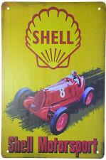 "Shell Motorsport Racing Car Oil Gasoline Garage Retro Metal Tin Sign 8x12"" NEW"