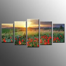 FRAMED Wall Art Home Decor Poppy Flowers Stretched Giclee Canvas Prints-5pcs