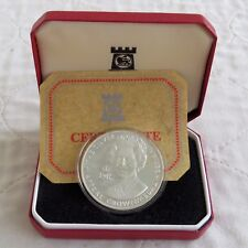 1977 ROYAL SALUTE HALLMARKED SILVER PROOF CROWNMEDAL - boxed/coa