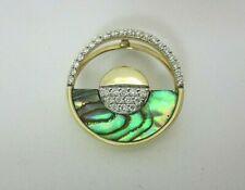 Na Hoku Horizon 14K Yellow Gold Diamond and Inlaid Abalone Pendant