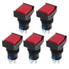 5 x AC 220V Red Light Momentary 1NO+1NC Rectangular Push Button Switch