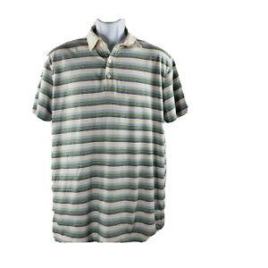 Banana Republic Polo Golf Shirt L Green Blue Cream Striped Cotton