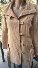 TOPSHOP Beautiful Vintage Look Beige Button Up Coat Size 10. With Belt.