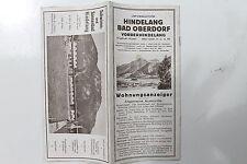 23180 ReiseProspekt Wohnungsanzeiger Hindelang Bad Oberdorf Vorderhindelang 1930