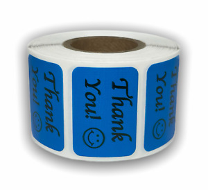"""Labels and More, .875"""" x 1.25"""" THANK YOU Smiley Face / 500 Blue Stickers"""