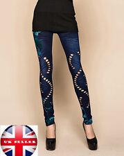 Ladies Spring Denim Print  Hollow Cut Elastic Leggings UK 10-12