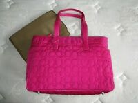 NWT COACH PINK QUILTED SIGNATURE MULTIFUNCTION BABY DIAPER TOTE BAG PURSE RARE!