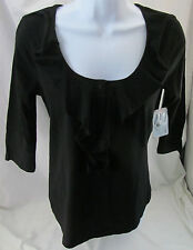 St. John��s Bay, PS, Black Ruffle Neck Shirt, New with Tags