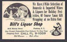 1957 POSTAL CARD BILLS LIQUOR STORE FLUSHING NY HOLIDAY SPECIAL