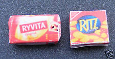 1:12 Scale 2 Empty Biscuit Packets Ryvita & Ritz Dolls House Miniature Accessory