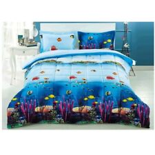 King Comforter Set Ocean Themed Bedding Bedroom Coral Decor Beach 3D Fish 3