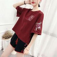 Japanese Mori Girls Harajuku Vintage Fox T-shirt Short Sleeve Tee Punk Tops#3690