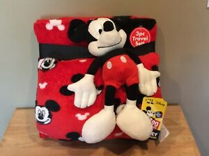 3 Piece Mickey Mouse Pillow, Blanket and Stuffed Toy Set