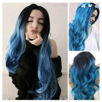Gradient Color Natural Blue Wave Wigs Synthetic Wigs Long Curly Wigs Full Wigs