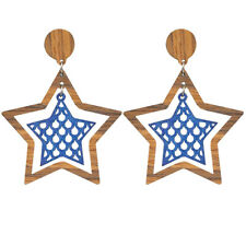 BIG LONG Earrings Stars Wood Drop Dangle Blue Brown Statement Large Lightweight