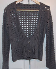 Ladies, brown lacy knitted, long sleeved cardigan. 21'' pit to pit. VG