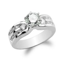 JamesJenny Ladies 10K/14K White Gold Round CZ Channel Solitaire Ring Size 4-10