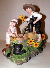 Boy & Girl Ceramic Figurine REAL RUNNING WATER PUMP Flowers-Washing- MUSIC BOX