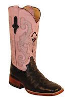 New Womens Cowboy Boot Ferrini Western Pink Anteater Print Leather Sq Toe 9.5