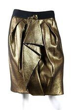 J MENDEL $1,350 NWT Metallic Gold Sculptural Pleated Pencil Skirt 10