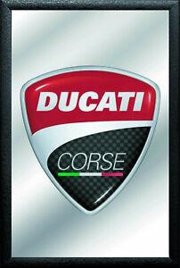 Ducati Corse Label Nostalgie Barspiegel Spiegel Bar Mirror 22 x 32 cm