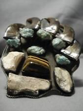 Grande Vintage Navajo Verde Turchese Argento Sterling Legno Pietrificato