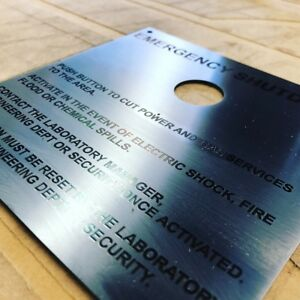Signage Business Laser Cut and Etched Stainless Steel Size: 150mm x 150mm