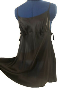 Victorias Secret 100% SILK Chemise Nightgown L Black Keyholes Bows Sexy