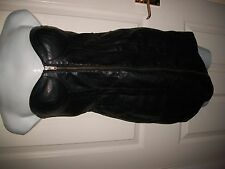 H&M black faux leather mini dress size 10 & 24 ins long & long zip front sexy on