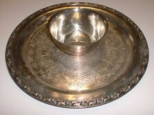 """Wm. A. Rogers by Oneida Silversmiths 12"""" Silver Chip & Dip Platter Serving Tray"""