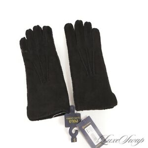 NWT #1 MENS $198 Polo Ralph Lauren Black Suede Shearling Cuff Winter Gloves S NR