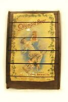 """Vintage Olympia Beer Ad on Wood Pabst Blue Ribbon Bar Art Nouveau Woman 24x36"""""""