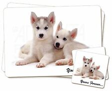 Husky Puppies 'Yours Forever' Twin 2x Placemats+2x Coasters Set in Gi, AD-H60YPC