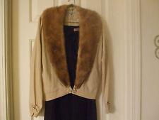 Vintage Bernard Altmann Cashmere Beige/Champagne Fur Collar Women's Sweater