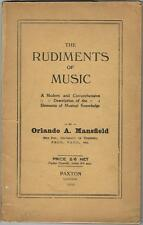 MANSFIELD THE RUDIMENTS OF MUSIC Figures BON EXEMPLAIRE