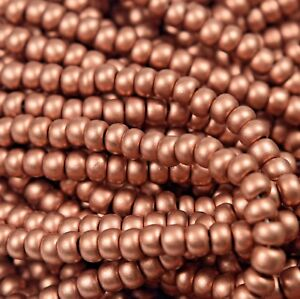 """Czech Glass Seed Beads Size 6/0 """" METALLIC SILK COPPER """" Strands"""