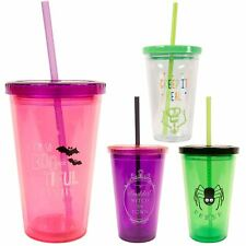 Halloween Tumbler Drinking Cup With Straw Plastic Horror Table Decor Party Props